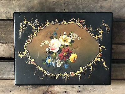Antique Victorian Circa 1845 Hand Painted Gold Leaf Lap Desk