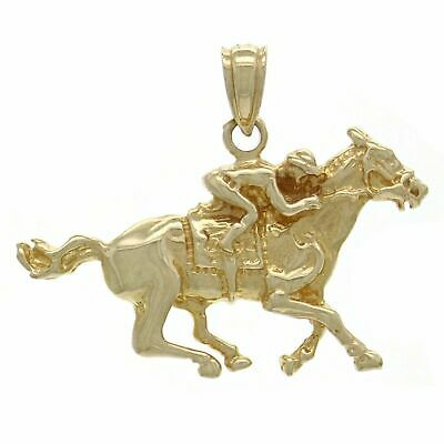 14k Yellow Gold Solid Jockey Running Horse Charm Pendant 2.4grams