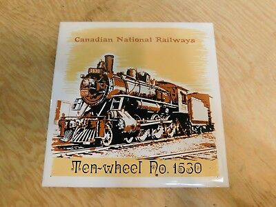 CNR ten Wheel No.1530 Locomotive Train Headford Ceramics 6x6 Tile