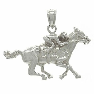 14k White Gold Solid Jockey Running Horse Charm Pendant 2.4grams