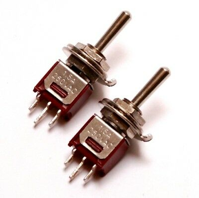 2x SPDT Sub Mini Toggle Switch ON-OFF-ON Center Off -Guitar, Eurorack- US SELLER