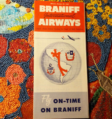 1957 Braniff Airways Airline Collectible Brochure Timetable Route Map Vintage