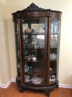 Antique Curved Glass Oak? Wood China Cabinet Carved Lion