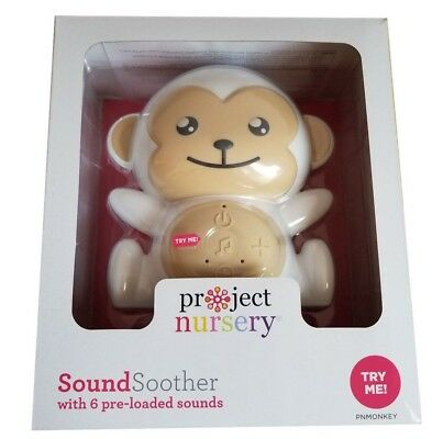Project Nursery Sound Machine with Nightlight Monkey SoundSoother White/Gray NEW