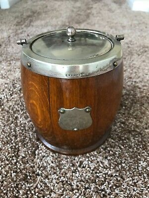 Oak and Silver Plate Ice Bucket/Biscuit Barrel; see desc. for dimensions (lotE8)