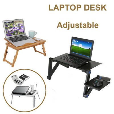 Upgrade Portable Adjustable Laptop Foldable Table Stand TV Tray Desk Home