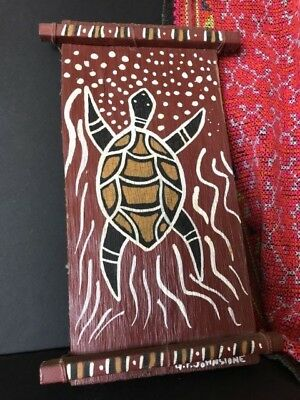 "Old Australian Aboriginal Bark Painting ""Turtle"" Signed …beautiful collection.."