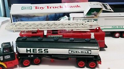 3 lot - 1984 1986 1987 HESS toy Fuel Oil Tanker 18 wheeler bank and Fire Truck