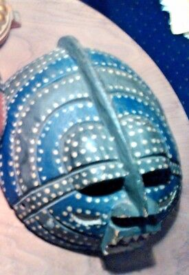 Vintage Hand Crafted Carved Wooden Blue Hue African Tribal Mask