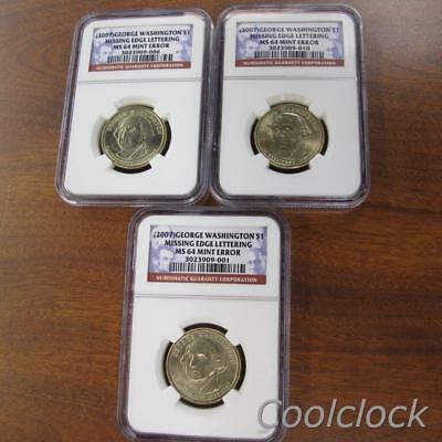 3 Pc Lot 2007 Presidential Dollar $1 Coins, NGC Graded MS64 Mint Error #Y25