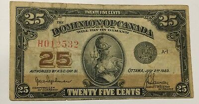 1923 Dominion Of Canada 25 Cent Fractional  Note #532