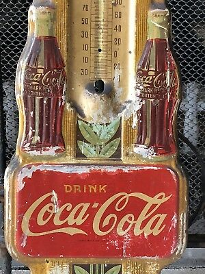 Vintage COCA-COLA Advertising *SIGN Thermometer Antique Coke Soda Pop Hanging