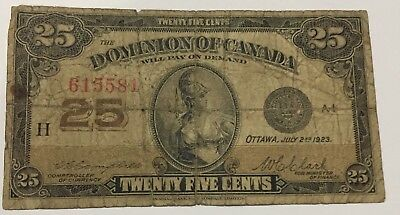 1923 Dominion Of Canada 25 Cent Fractional  Note #581