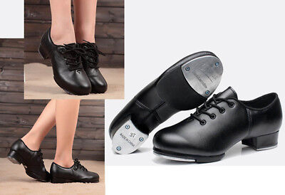 Premium Genuine Leather High Quality Dance Shoes Lace Up Tap Shoes #101