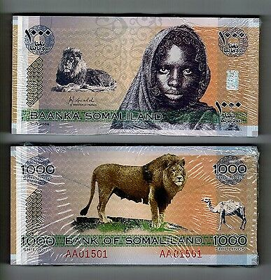 2006 Somaliland One Full Bundle 100 Notes Uncirculated 1000 Shillings
