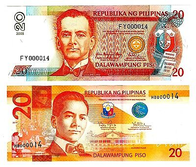 Philippines Two Notes 20 Piso Both Notes # 57 Uncirculated
