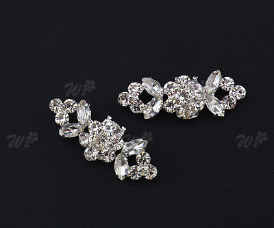 2x Sparking Silver Plated Crystal Rhinestone Tone Boots Buckle Shoe Clips Decor