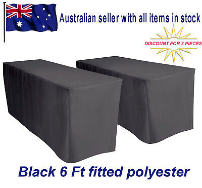 2 piece sale!!!!!! 1.8m 6FT Fitted Black Trestle Tablecloth table cover Weddings
