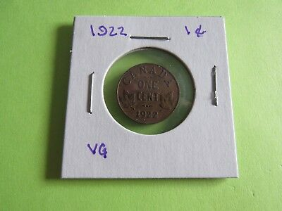 Canada one cent 1922 in VG condition   TOUGH DATE