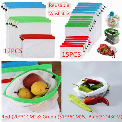 12/15 x Reusable Produce Mesh Bags Vegetable For Fruit Toy Storage Shopping Eco