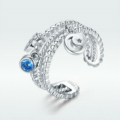 925 Sterling Silver Open Finger Ring With Moon & Sun Dangle Blue CZ Jewelry Gift