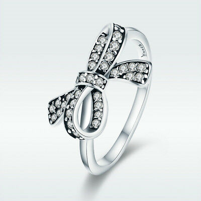 S925 Sterling Silver Finger Ring Love Bow-knot With CZ Fashion Jewelry Size 6-8