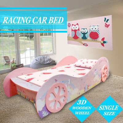 Pink Unicorn Wooden Girl Girls Kids Toddler Racing Night Car Bed High Gloss