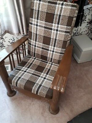 antique morris chair in excellent condition with new upholstered cushions