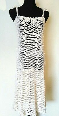 Vintage 70's Women's Size Small Ivory Hippie Boho Hand Crochet Cotton Dress
