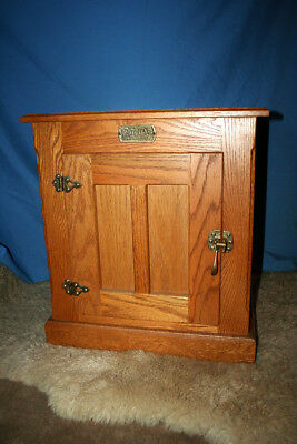 Vintage White Clad Ice Box style Cabinet end Table. Solid Oak w/ Brass Hardware