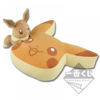 Pokemon Collection 2018 Pikachu & Eevee Pancake Cushion Plush Ichban-kuji C FS