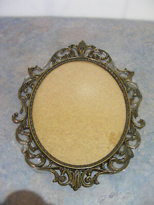 Vintage Ornate Italian Brass Picture Frame With Convex Glass - Photo Frame