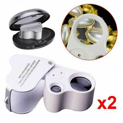 2x Jewelry Magnifier 30/60X Magnifying Jewellers Eye Glass LED Light Lens Loupe