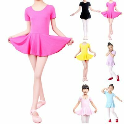 Vogue Kid Girls Short Sleeve Ballet Gymnastic Leotard Dress Tutu Dress Dancewear