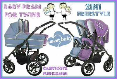 Baby Pram Freestyle For Twins Pushchairs+Carrycots 2In1 Purple+Blue + Black Bag