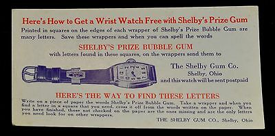 Shelby's Bubble Gum Game Blotter to Win a Wristwatch