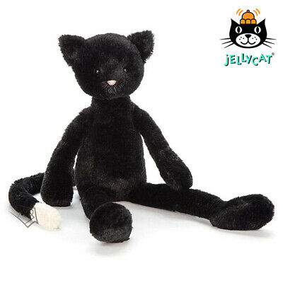 NEW Jellycat Pitterpat Kitten Medium 40cm Black Fur Cat Plush Toy Teddy Kids