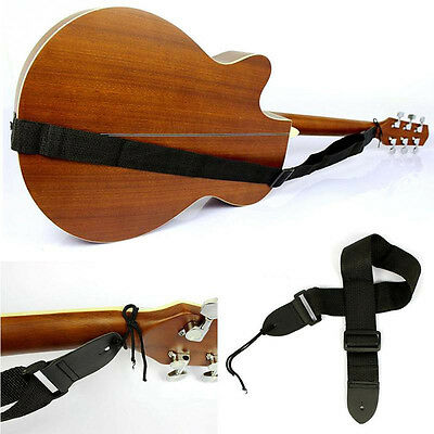 Black Adjustable Firm Nylon Neck Strap for Acoustic Electric Classic Guitar/Bass