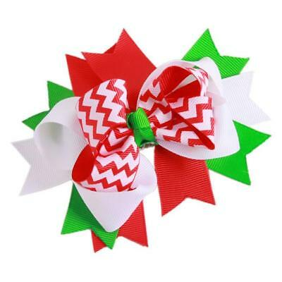 Baby Infant Girl Costume Toddlers Colorful Hair Bows Clips Xmas Christmas N7