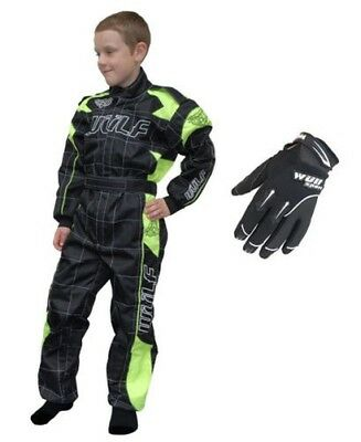 Kids Wulfsport Wulf MX Quad Motocross Grey Overall And Gloves Fluo Set #O6
