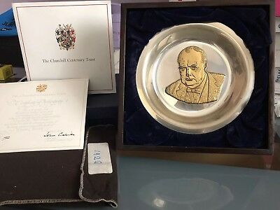 The Churchill Centenary Trust Gold on Silver Plate + Certificate Of Authenticity