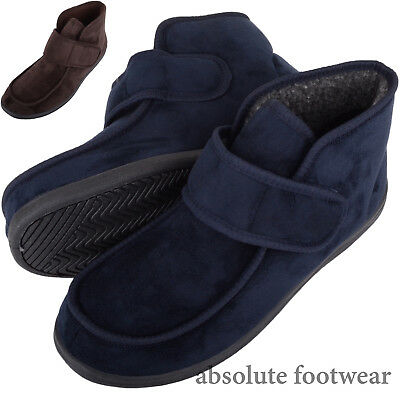 Mens / Gents Microsuede EE Wide Fitting Slippers / Boots with Ripper Fastening
