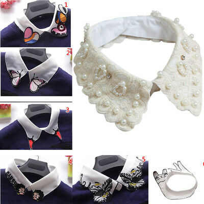 Women Girl Detachable Peter Pan Lapel Fake Collar Shirt Blouse False Collar Bibs