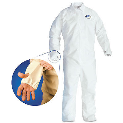 A40 Breathable Back Coverall with Thumb Hole, White/Blue, Large, 25/Carton