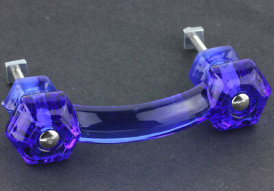"Antique Cobalt Blue Glass Cabinet Drawer Pull Knob { 4.25"" long } by PLD"