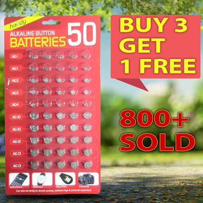 Alkaline Mixed Button 50 Assorted Batteries Cell Hardware