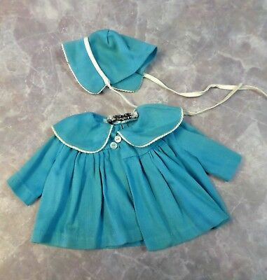 Vintage Tiny Chatty Baby Mattel 1962 Coat and Bonnet Blue Tagged
