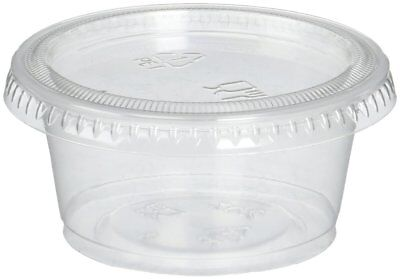 Plastic Portion Cups with Lids 2 oz. 150 Pack Condiment Sauce Snack Souffle