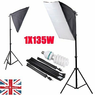 UK 135W Photography Studio Softbox Continuous Lighting Soft Box Light Stand Set