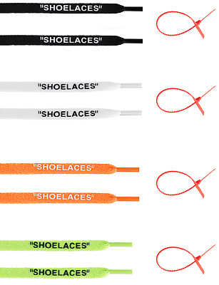 "Flat CUSTOM ""SHOELACES""  ZIP TIE TIES LACES LACE OFF WHITE AJ1 BUY 3 GET 1 FREE"